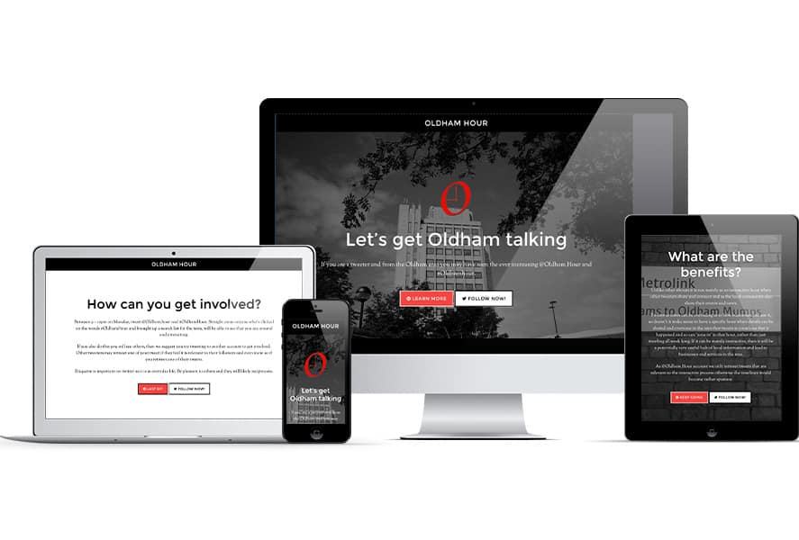 Oldham Hour website mocked up across Apple devices