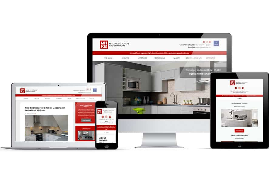 Millshill Kitchens and Bedrooms website displayed on several Apple devices